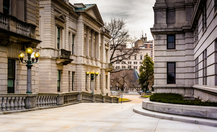 Walkway and buildings at the Capitol Complex in Harrisburg Pennsylvania