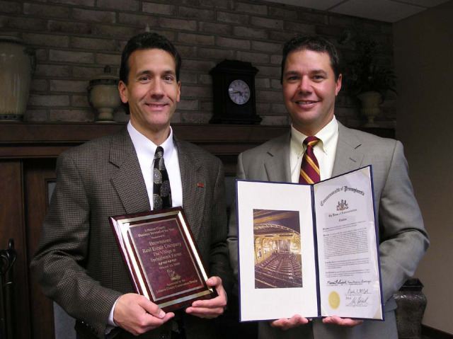 L to R: Todd Lechleitner, Broker/Owner and Scott Campbell, President/Owner of Brownstone Real Estate Company with the Business Steward of the Year Award given by the Lebanon County Conservation District