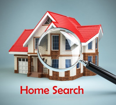 House and loupe magnifying glass. Real estate searching concept. House search and house hunting. 3d