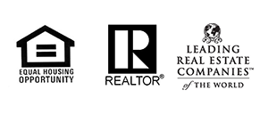 Logos for equal housing, Realtor logo and Leading Real Estate Companies of the World